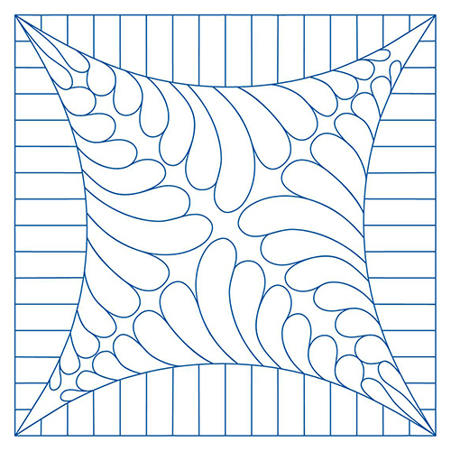 Ombersley Feathers Lined Melon Block | Quiltable | Jen Eskridge
