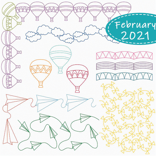February 2021 Club Set: Up In The Air 29-Pieces | Cathie Zimmerman | Quiltable