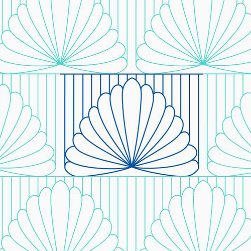 River Reflections Border 1- Lined Feathers | Quiltable