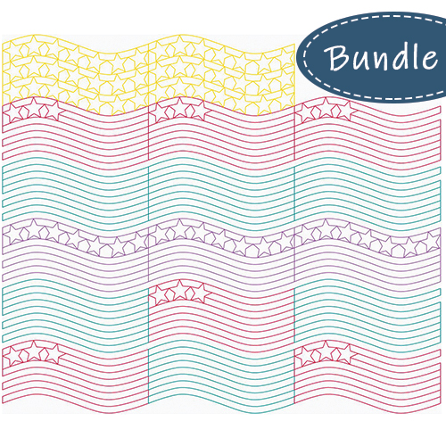 Stars, Stripes, and Waves Edge to Edge 4-Piece SET | Quiltable